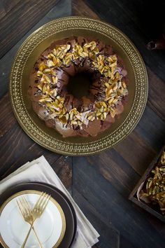 Mexican Chocolate Bundt Cake with Spicy Pepita Brittle recipe { @beardandbonnet www.beardandbonnet.com }