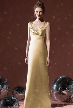 Brides.com: Metallic Bridesmaid Dresses. Style 8103, matte satin dress in Venetian gold, $230, Social available at Weddington Way  See more gold bridesmaid dresses.