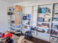 Turn IKEA billy bookcases into gorgeous built in bookshelves with these step by step instructions. Bookshelves In Living Room, Bookcase Door, Ikea Billy Bookcase, Bookshelves Built In, Built Ins, Book Shelves, Billy Hack, Stair Paneling, Ikea Built In