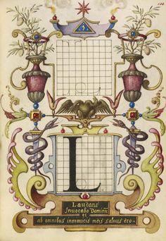 Joris Hoefnagel (illuminator)  [Flemish / Hungarian, 1542 - 1600],                              Guide for Constructing the Letter L,                              Flemish and Hungarian, about 1591 - 1596