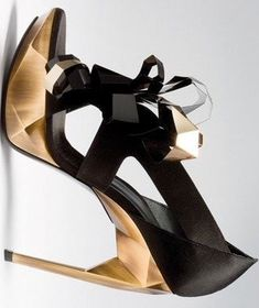 Roger Vivier Gold Faceted And Black Heels...love these!!!