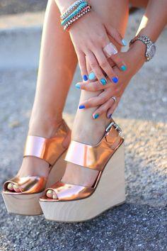 cute metallic wedges & nail polish