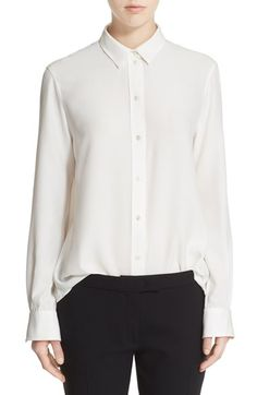 Free shipping and returns on Joseph 'Garcon' Rib Silk Crêpe de Chine Blouse at Nordstrom.com. The staple white button-down gets a luxe upgrade in soft and fluid silk with superfine ribbing giving a subtle hint of texture. The long-sleeve style is cut for a loose and easy fit.