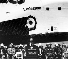 https://flic.kr/p/fpNjnv | Space Shuttle Endeavour Rollout | NASA Administrator Richard H. Truly addresses the audience in attendance at the rollout ceremonies of the Space Shuttle Orbiter Endeavour which occured on April 25, 1991, at the Rockwell International facility, Palmdale, Calif. Endeavour, the fourth Orbiter to join the fleet, replacing the lost Challenger, can be seen in the background.   Image # : 91-H-323  Date: April 25, 1991