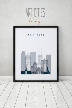 Montréal print, affiche, sticker, paysage urbain Canada, skyline Montréal, affiche de la ville, art Home Decor, Digital Print ART PRINTS VICKY de la typographie