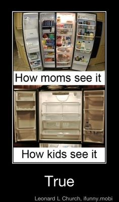 Incredibly true. I can't tell you how many times I've gone through the fridge, freezer and pantry in my parents house and complained that there is nothing to eat. (To be fair though, Melba Toast, salad dressing, cucumbers and other nasty health food is NOT food).