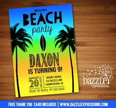 Printable Boy Beach Party Birthday Invitation Surf Board Invite | Surfing | Tropical | Hawaiian Party | Luau | Hawaii Sunset | Palm Tree | Pool Party | Water Party | Digital File | Kids or Adult Birthday Party Idea or any event | Baby Shower | Bridal Shower | FREE thank you card | Party Package Available | Banner | Cupcake Toppers | Favor Tag | Food and Drink Labels | Signs | Candy Bar Wrapper | www.dazzleexpressions.com