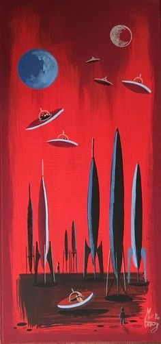El Gato Gomez Painting Retro MCM Outer Space Robot SciFi Pulp Rocket Martian | eBay