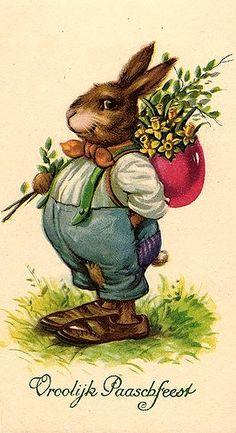 old easter cards Vintage Easter Postcard Easter Bunny Eggs, Easter Art, Hoppy Easter, Easter Crafts, Bunnies, Vintage Greeting Cards, Vintage Postcards, Diy Ostern, Bunny Art
