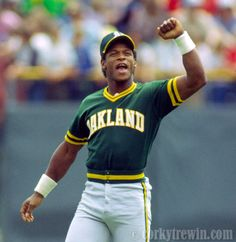 Ricky Henderson one of the greatest base stealers of all time. Baseball Uniforms, Baseball Players, Oakland Athletics, Oakland Raiders, Baseball Wall, Baseball Cards, Star Trek Posters, Rickey Henderson, Sports Images