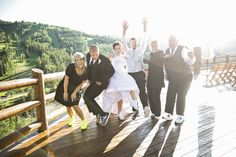 What a fun photo and a lively group! Location: Stein Eriksen Lodge Flagstaff Deck #steinweddings