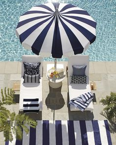 Relax poolside in our cushioned chaises with a striped beach umbrella and striped outdoor rug. Parasols, Patio Umbrellas, Outdoor Daybed, Outdoor Decor, Outdoor Cushions, Outdoor Spaces, Outdoor Living, Pool Furniture, Furniture Dolly