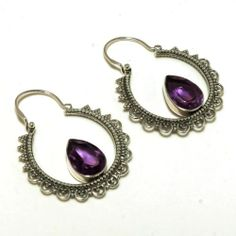 925 Sterling Silver Earrings Amethyst Gemstone Handmade Jewelry | eBay