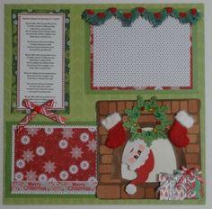 Premade-Christmas-Paper-Piecing-Scrapbook-Album-Page-Layout-Embellishment-OOAK