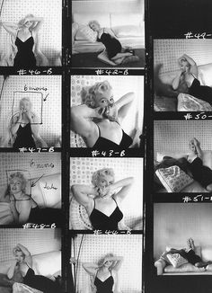Marilyn's contact sheet of photographs taken by Cecil Beaton, 1956.