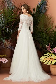 wtoo by watters fall 2018 bridal three quarter sleeves off the shoulder heavily embellished bodice tulle skirt elegant soft a line wedding dress lace back short train 3 bv - Wtoo by Watters Fall 2018 Wedding Dresses Wedding Inspirasi Tea Length Wedding Dress, Fall Wedding Dresses, Wedding Gowns, Bridesmaid Dresses, Wedding Ceremony, Happy Brautmoden, Diana, Bridal Collection, Dress Collection