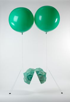 Split, 2012, balsa wood, watercolour, polyester thread, helium balloons, lead weights enamel paint