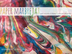 encenent la imaginació: Paper marbrejat amb escuma d'afaitar i colorant al...