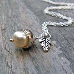 Silver Acorn Necklace with Cream Swarovski Pearl, Oak Leaf and Sterling Chain by Beadin By The Sea