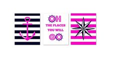 PRINTS set of 3 Navy and Pink Nautical Baby Picture by PinkPopRoxx, $28.00