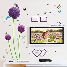 Dagou Dandelion and Butterfly Wall Stickers & Murals Wall Decals Wallpaper Wall Decorate and Removable Wall Décor Decorative Painting Supplies & Wall Treatments Luminous Stickers for Kids Living Room Bedroom Wallpops Decal