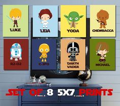 Personalized Star Wars Kids Art- The Ulimate Star Wars Collection- 8 - 5X7 Prints With Star Wars Characters-Star Wars Nursery-Boy Nursery on Etsy, £36.42