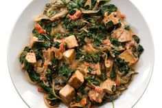 A traditional Indian dish of spinach and spices, Saag, gets a full meal upgrade with the addition of firm cubes of tofu. Recipe from Chow, Tofu Recipes, Indian Food Recipes, Vegetarian Recipes, Healthy Recipes, Ethnic Recipes, Healthy Options, Diet Recipes, Saag, Vegans