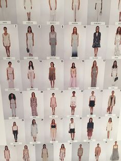 The charts backstage to help the dressers get each model into the correct looks.