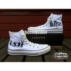 50dbc702841dde Men Women The Beatles Converse All Star Hand Painted Canvas Sneakers