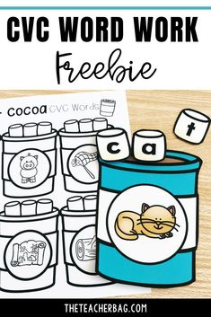 Grab this free hot chocolate CVC word work activity for morning work or a center activity.