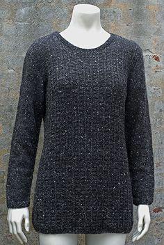 Lang sweater i strukturmønster Charcoal - Kvinder - Charlotte Tøndering - Designere