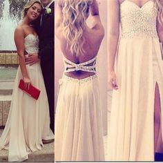 Sexy Mermaid Chiffon Prom Dresses, Sweetheart Beaded Party Dresses