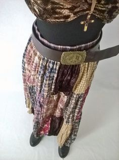 Buy 90's Vintage Boho Hippie Retro Patchwork Peasant Broomstick Long Maxi Skirt velvet/cotton/rayon by eleanorfayesfashion. Explore more products on http://eleanorfayesfashion.etsy.com