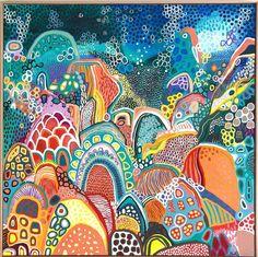 Painting Inspiration, Art Inspo, Detailed Paintings, Bright Art, Naive Art, Aboriginal Art, Blue Art, Art Techniques, Abstract Art