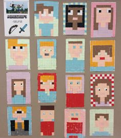 Minecraft Selfie Mosaic Class - Minecraft Selfie Mosaic Class Best Picture For diy For Your Taste You are looking for somethi - Middle School Art, Art School, Minecraft Art, 4th Grade Art, Ecole Art, Christmas Drawing, Arts Ed, Art Classroom, Art Club