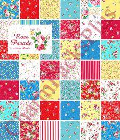 Moda Fabrics Free Patterns | ROSE PARADE Moda Charm Packs Quilt Fabric Squares by charmpacks