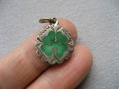 Antique-enamel-Lucky-Clover-Shamrock-Charm-800-Continental-genuine-silver