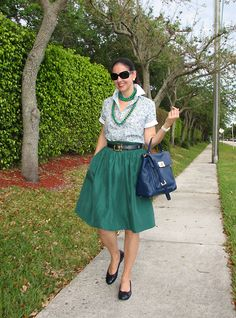 Tommy Hilfiger Cotton Shirt, Talbots Fuji Silk Skirt, Paloma Picasso Leather Belt, Michael Kors Leather Bag, Burberry Sunglasses. Ready for St. Patrick's Day wearing green and navy blue!  Are you ready for St. Patrick's Day?  http://www.akeytothearmoire.com/post/19340414985/spring-envy