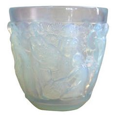 Lovely Signed Sabino Iridescent Glass Vase of Goddesses in Figural High Relief