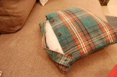DIY cushion covers from a man's shirt