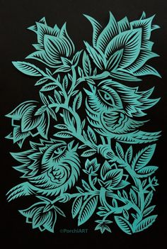 Papercut designs: two birds in green color on Behance Iryna Korchuk