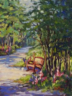 "Daily Paintworks - ""Walking Path"" - Original Fine Art for Sale - © Leona Fox"