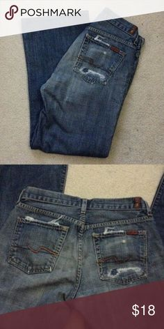 "Men's 7 for All Mankind Distressed Jeans Gently worn men's factory distressed jeans. Size 29. 27"" inseam. 15.5"" across the waist. Pet and smoke free home! 7 For All Mankind Jeans Relaxed"