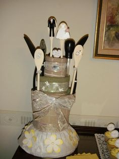 Bridal shower kitchen towel cake made for Kristen