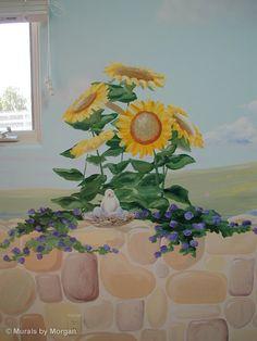 Princess Castle Nursery Mural - Flower Detail