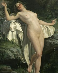 """Alexandre Jacques Chantron, """"Diana at her bath""""  #daily #art #history #painting #oilpainting #oiloncanvas"""