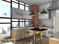 love the views and exposed bricks in this one Kitchen Modern, Kitchen Decor, Kitchen Ideas, Exposed Brick, Kitchen Inspiration, 3d Design, Kitchen Remodel, Sweet Home, Home And Garden