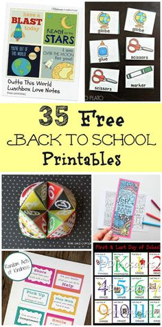 Free printable lunch box notes, organizational checklists, bookmarks, learning activities and first day of school celebration items for parents and kids! #backtoschool #firstdayofschool