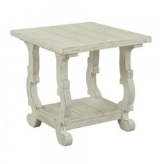 The Orchard White Farmhouse End Table is a Farmhouse Chic end table that features a plank top, curved cutout legs, and a lower shelf, all finished in rub-through white. Shop now for Farmhouse Chic accent tables. Farmhouse End Tables, White Farmhouse, Farmhouse Chic, Low Shelves, Open Shelving, Shelf, Orchard Park, Living Room End Tables, Living Rooms