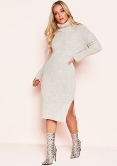 0a071033c74 Missyempire - Nada Beige Roll Neck Knit Jumper Dress Beige Jumpers